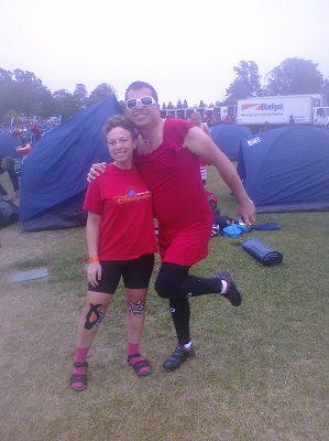 Color-coordinated tentmates (well, except for the idiot who thought wearing pink socks would be a good idea).